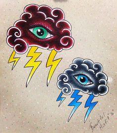 Neo-Tradtional Tattoo Flash Stormy Eyes by GabrielleGanson on Etsy
