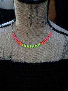 Neon Splash Handpainted Rhinestone Necklace by HandsomeAlice