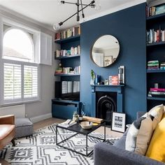 I love this modern retro living room. The blues, tans and yellows work so well together. Living room style | navy and yellow and gray | living room interior design #modernLivingRooms