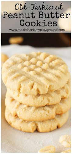 Old-Fashioned Peanut Butter Cookies ~ straight from Grandma's recipe box. These are the stuff childhood cookie memories are made of! http://www.thekitchenismyplayground.com