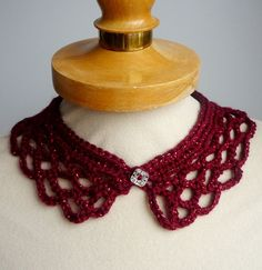 Items similar to Wine Peter Pan Collar with glitter wine thread, Crochet Collar, wine color, Detachable Collar Necklace, wine twinkle crochet Collar on Etsy Glitter Wine, Detachable Collar, Crochet Collar, Collar Necklace, Twinkle Twinkle, Peter Pan, Crochet Necklace, Trending Outfits, My Style