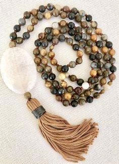 Agate mala necklace brown yellow agate mala cream agate pendant necklace tassel necklace yoga mala meditation necklace 108 prayer beads mala by Katiaicrafts on Etsy