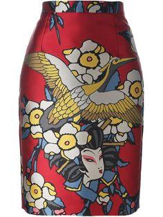 DSQUARED2 geisha print skirt. #dsquared2 #cloth #skirt