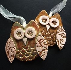 set of two cute little ceramic owl hanging decorations £10.00