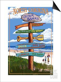 Outer Banks, North Carolina - Sign Destinations SwitchArt™ Print by Lantern Press at Art.com