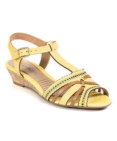 Yellow Perforated Leather Sandal #zulily #zulilyfinds
