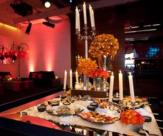 Wedding Food, Wedding Food Ideas, Wedding Reception Food Ideas, Buffet Food || Colin Cowie Weddings  A curated food station of colorful sushi is easily accessbile to guests seated in a chic lounge nearby.