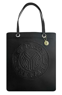 Black neoprene tote imprinted with the iconic NYC subway #token. Zipper pocket & slip-in pocket inside, with a rhinestone token dangle. One color subway map lini...
