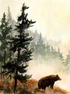 Black Bear Mountains Wildlife Nature Fine Art Watercolor Collector Print   This is literally what I want but with the sawtooths in the background not just trees. And two bears not one.