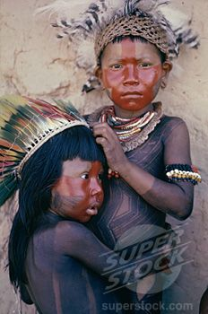 caipo indian children, xingu river brazil