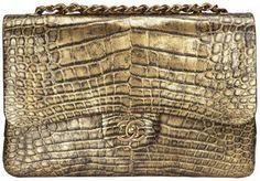 Chanel Alligator Flap Bag in gold