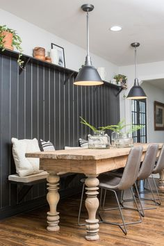 Great table color and overall design for dining —-Find the best of Fixer Upper from HGTV