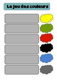 Sur le même principe que les jours de la semaine, voici un jeu pour travailler les couleurs. Les...
