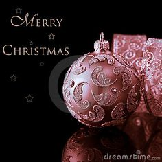 Photo about Closeup of beautiful christmas bauble and gift ribbon on black background. Victorian Christmas Ornaments, Merry Christmas, Shabby Chic Christmas, Pink Christmas, Xmas Ornaments, Christmas Baubles, Beautiful Christmas, All Things Christmas, Vintage Christmas