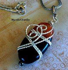Firestone an Agate Silver Wire Wrapped Necklace  by marokel, $26.00