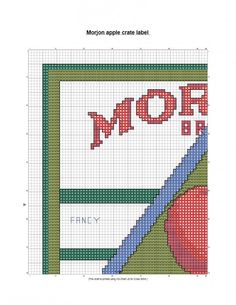 free Morjon Fruit Crate label Cross Stitch pattern