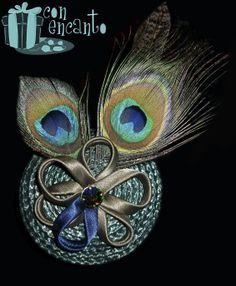 Tocado en verde www.facebook.com/ConEncantoBilbao Olive & blue Headpiece