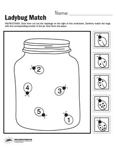 Ladybug Match Worksheet | Paging Supermom - Coloring, cutting, and number matching all in one worksheet