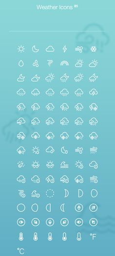 Weather Icons, #Free, #Graphic #Design, #Icon, #Outline, #PSD, #Resource, #Weather