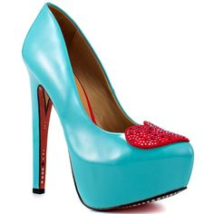 queen of hearts painted on the bottom...Royal Hearts Heels Teal blue, red, women's shoes