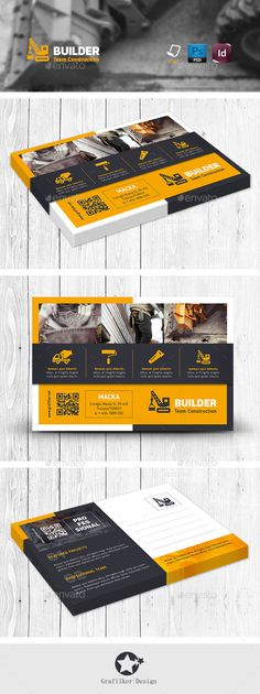 Buy Construction Postcard Templates by grafilker on GraphicRiver. Construction Postcard Templates Fully layered INDD Fully layered PSD 300 Dpi, CMYK IDML format open Indesign or l. Postcard Template, Postcard Design, Company Brochure Design, Branding Design, Design Corporativo, Construction Business Cards, Construction Branding, Marketing Postcard, Promo Flyer