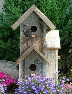 This two story rustic birdhouse is a unique approach to a corner location. The bird house features three separate holes; each hole is approximately in diameter and the top one goes through to the main dwelling. Removable base for easy cleaning. Birdhouse Post, Birdhouse Craft, Birdhouse Designs, Birdhouse Ideas, Rustic Birdhouses, Birdhouse Decorating Ideas, Bird House Plans, Bird House Kits, Decorative Bird Houses