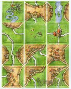 Carcassonne Mini Expansion  The mini expansion contains 12 tiles including the unique river fix tile and unique pig farm tile (+1 field points per city).  Originally appearing in Games Quarterly Magazine (no longer published). | eBay  #boardgames #carcassonne