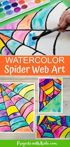 This watercolor spider web art is so fun and colorful. Kids will love making this easy Halloween and fall art project! Arts And Crafts For Kids Toddlers, Easy Arts And Crafts, Art Activities For Kids, Art For Kids, Halloween Art Projects, Clay Art Projects, Easy Halloween, Projects For Kids, Spider Web Drawing