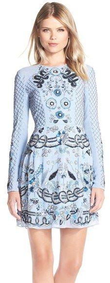 Needle & Thread Embellished Georgette Fit & Flare Dress