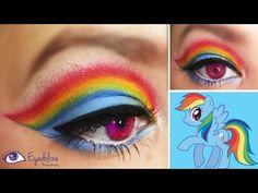 Rainbow Dash My Little Pony Inspired Makeup Eyeshadow Tutorial by EyedolizeMakeup, rainbow makeup, Unicorn Halloween, Unicorn Costume, Halloween Make Up, Halloween Costumes, Pony Makeup, Unicorn Makeup, Rainbow Dash Kostüm, Rainbow Stuff, Cumple My Little Pony