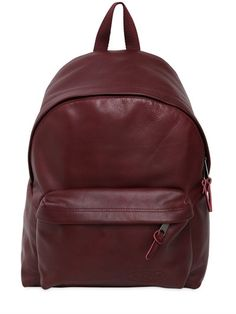 EASTPAK 24L PADDED LEATHER BACKPACK, BORDEAUX. #eastpak #bags #leather #backpacks #