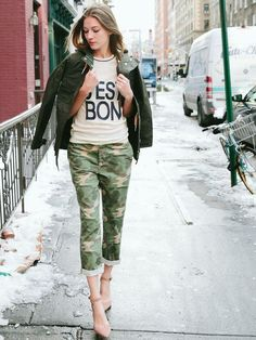 cargo pants with casual top