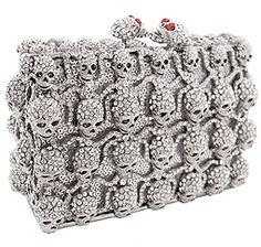 Enrusted skull  clutch purse
