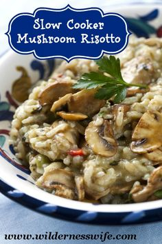 Slow Cooker Mushroom Risotto on MyRecipeMagic.com