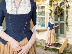 "Mode de Lis: Working Class Attire · 1770s Style  Lily has paired red ""Kensington"" 18th century leather shoes with her beautiful Georgian workwear."