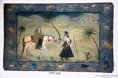 the father of NurJahan, mother and child on horse back in a desert