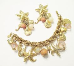 KIRK'S FOLLY Ocean Themed Starfish Seahorse Charm Bracelet / Clip On Earrings #KirksFolly
