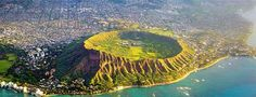 Aerial view of Diamond Head, Oahu, Hawaii Diamond Head Hawaii, National Landmarks, Hawaii Travel, Oahu Hawaii, Famous Places, Aerial View, Vacation Trips, Adventure Travel, Places To See