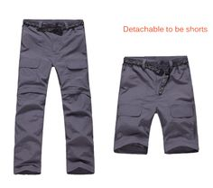 2014 Men Outdoor Fast Dry Pants Detachable Breathable Waterproof Tactical Casual Trousers Anti-UV For Fishing Hiking Camping