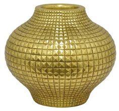 "One Kings Lane 13"" Studded Vase, Gold"