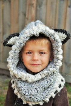 Wolf Hooded Scarf Hooded Scarf with Ears Wolf by FuntymeDesigns