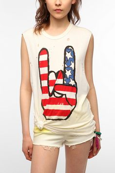 Muscle Tees For Women | UNIF X UO Rock USA Muscle Tee - Urban Outfitters