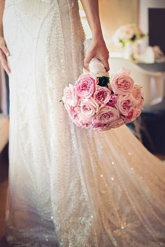 Beautiful pink bouquet against a stunning Atelier Pronovias gown--very classic romantic look!