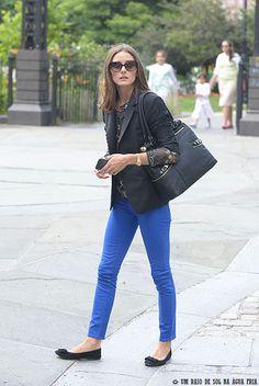 Olivia Palermo wearing Zara Silk Lace blouse Olivia + Joy Swanky Satchel in Black Dittos Dawn Royal Blue Jeans Skinny Jeans Rolex Oyster Per...