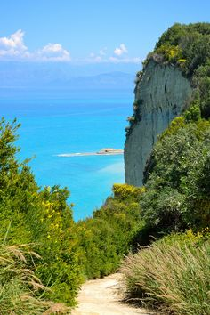 Cape Drastis view from the top of the cliff, northern part of Corfu, Greece (The mountains in the horizon are stunning!)