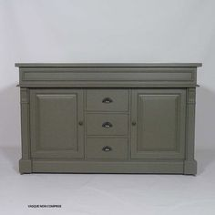 Meuble salle de bain bois gris foncé 2 vasques, 2 portes 3 tiroirs