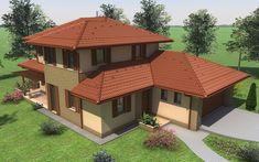 Emeletes családi ház 201 m2 Wooden Door Design, Wooden Doors, Tuscan House, New House Plans, Modern House Design, Gazebo, Architecture Design, Shed, New Homes