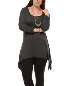 Love this Charcoal Sidetail Tunic - Plus on #zulily! #zulilyfinds