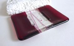 Fused Glass Soap Dish in Cranberry Transparent Glass