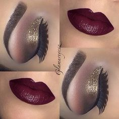 Very bold wine colored lips with shimmering gold, mauve, Brown,.and nude eye shades. Lashes and thin cat eye liner. This is to get noticed and for a dramatic night out ladies!